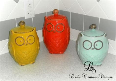 owl canisters for the kitchen simple decorating adding color to a kitchen and dining room