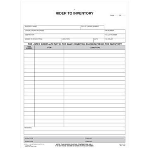 Household Goods Form Rider To Inventory Household Goods Inventory Template