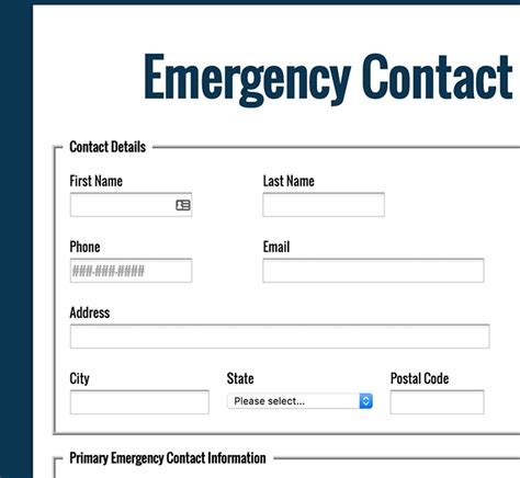Emergency Contact Card Template Uk by Formassembly Forms