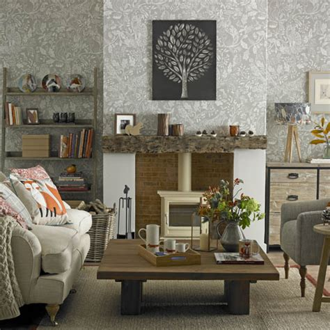 grey wallpaper living room uk cosy living room looks for autumn ideal home