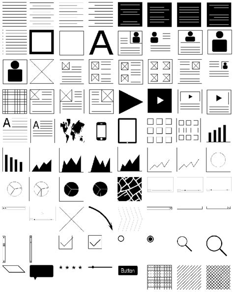 Wireframe Templates For Photoshop | photoshop wireframing kit 180 wireframing icons only