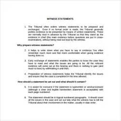 Witness Statement Template by Witness Statement Template 9 Free Documents In