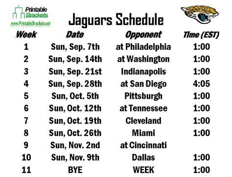 Jaguar Schedule 2020 by Jaguars Schedule Jacksonville Jaguars Schedule