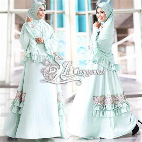 fidha 2 hijau mint muda baju muslim gamis modern