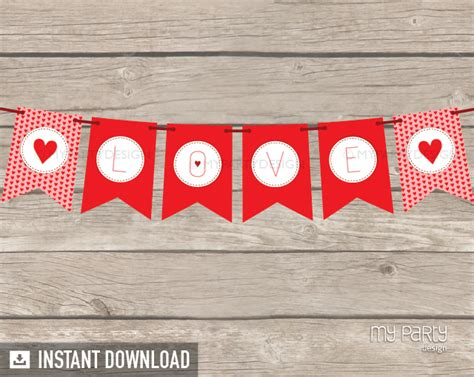 printable heart banner valentine s day hearts party printable banner my party