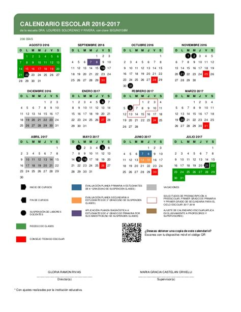 Calendario Escolar 2017 18 Mexico Calendario Escolar 2016 2017 Sev 200 Dias