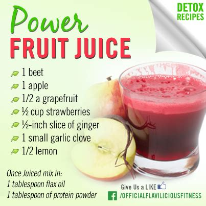 Detox Juice Cleanse Weight Loss Recipe by Tasty Thursday Power Fruit Juice Exercises For