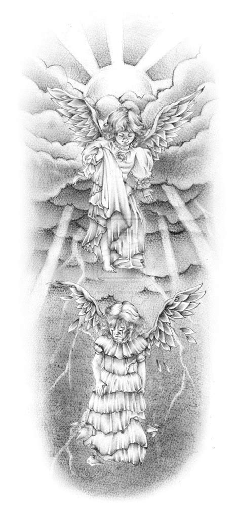 good and bad grey ink angels in under sun rays tattoo