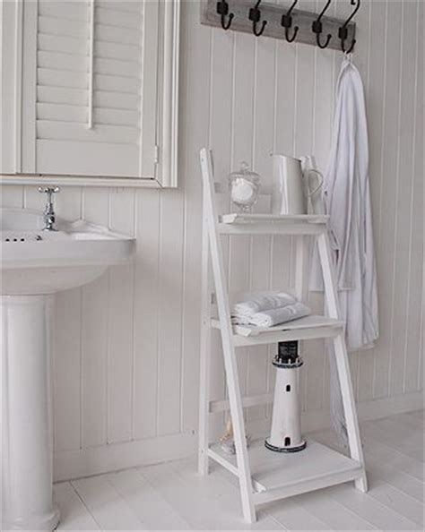 White Free Standing Bathroom Shelf Unit White Cottage Free Standing Shelves For Bathroom