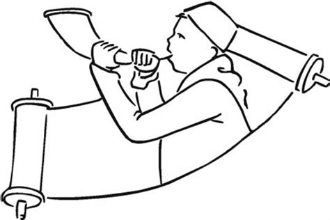 shofar coloring page paper scroll coloring pages
