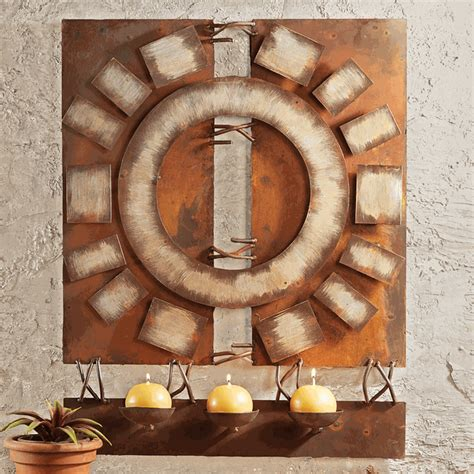 wall hanging candles desert metal wall hanging with candles