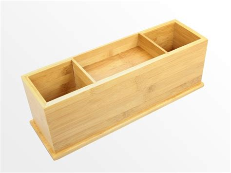 bamboo desk tidy with drawer wide stationery organiser ebay