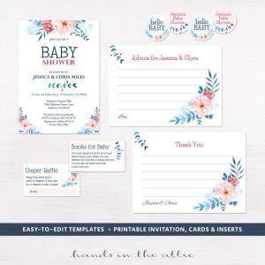 Boy Diaper Raffle With Bowtie Baby Shower Invitation Insert Baby Shower Invitation Inserts Templates