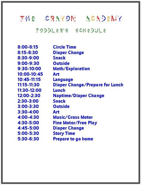 home daycare schedule template toddler schedule idea everything kiddos