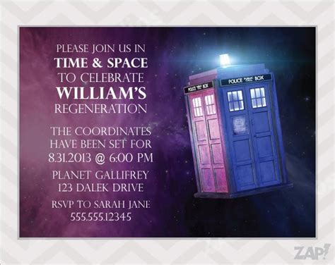 Doctor Who Printable Party Invitations Doctor Who Birthday Card Template