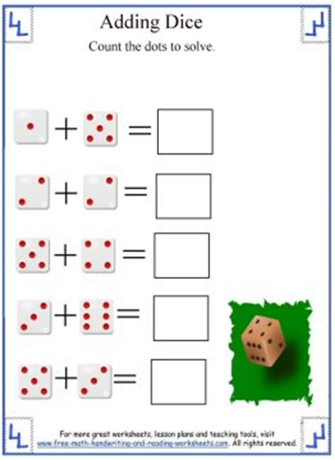 printable dice addition worksheet math addition worksheets adding dice