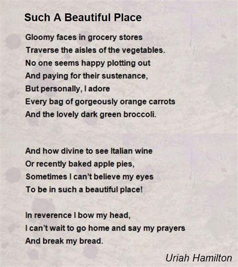 the beautiful poetry of donald canons books such a beautiful place poem by uriah hamilton poem