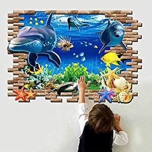removable wallpaper amazon amazon com 3d blue sea world dolphin removable wall