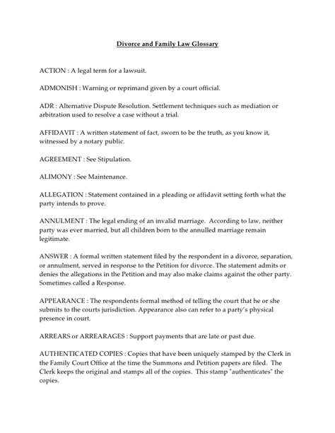 Sle Response Letter Divorce Summons Divorce And Family Glossary