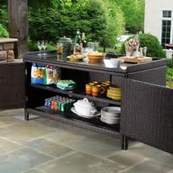 Outdoor Console Table With Storage All Weather Wicker Outdoor Sideboard Console Storage Table Alfresco Home New Products