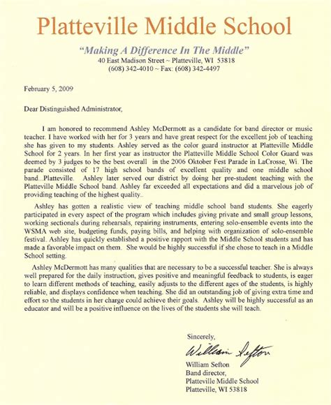Business Letter Exles For Middle School Miller Middle School Band Middle School Letter Of Recommendation
