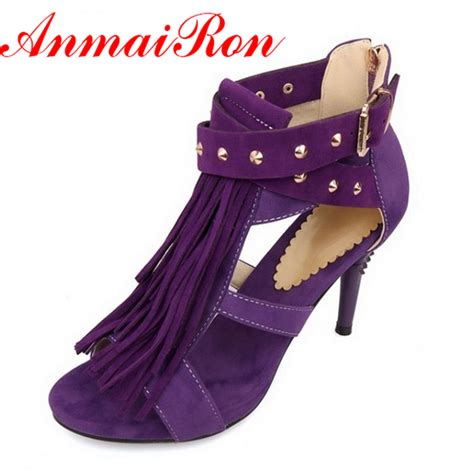black and purple high heels anmairon s sandals tassel high heels sandals black