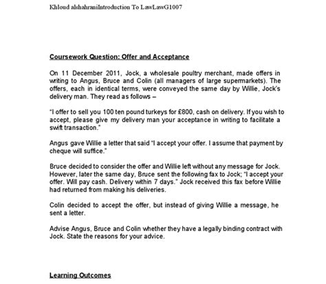 Acceptance Of Contract Letter Sle Offer And Acceptance Advise Angus Bruce And Colin Whether They A Legally Binding