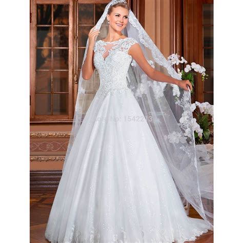 beaded cap sleeve wedding dress aliexpress buy luxury beaded cap sleeve lace dress