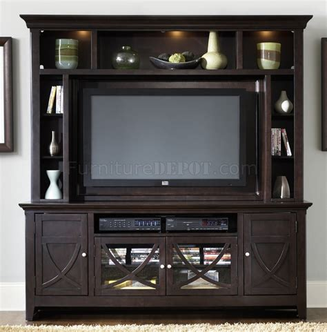 entertainment shelving units dark mocha finish entertainment unit w ample storage