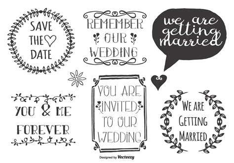 doodle free text wedding doodle labels free vector