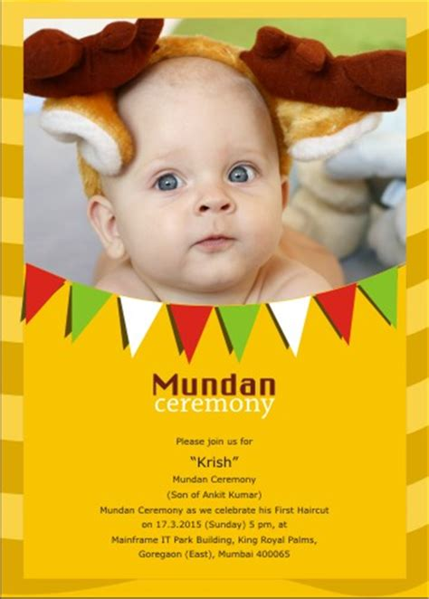 mundan ceremony invitation cards single side printed