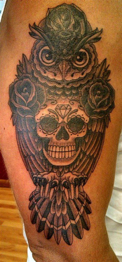 owl and sugar skull tattoo owl sugar skull by chris phelps tattoos