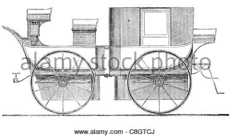 four horse carriage vintage engraving / woodcut stock
