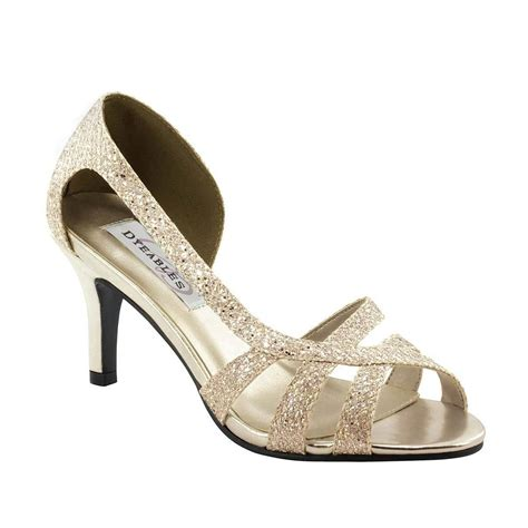 chagne gold glitter prom formal bridal d orsay strappy