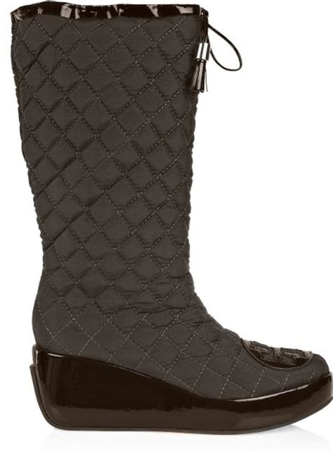 burch quilted canvas snow boots in brown lyst