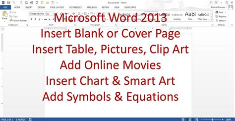 word 2013 clipart microsoft word 2013 2016 pt 5 insert page table picture