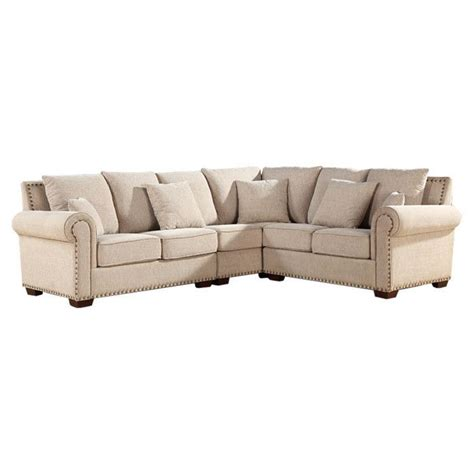 Linen Sectional Sofa With Nailhead Trim Dream Home