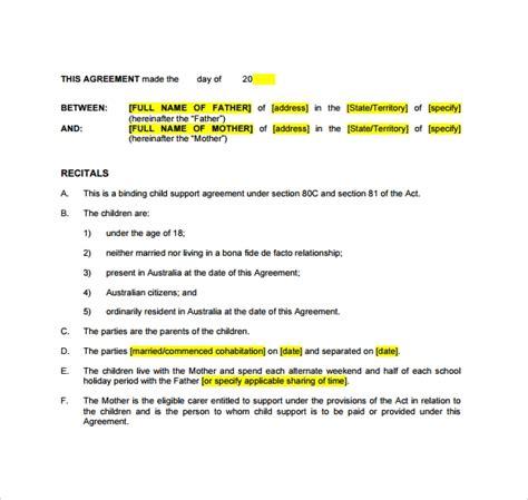 10 Sle Child Support Agreement Templates Pdf Sle Templates Child Support Custody Agreement Template