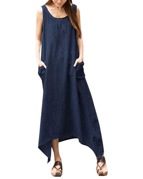vintage casual sleeveless high low cotton linen maxi