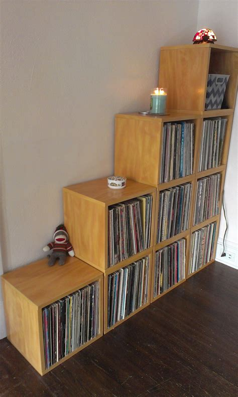 vinyl record storage the super storage record cube from way basics solid