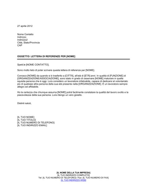 lettere di referenze fac simile molto lieto di scrivere una lettera di referenze modelli