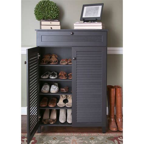 Brown Shoe Cabinet by Baxton Studio Harding Wood Shoe Storage Cabinet In