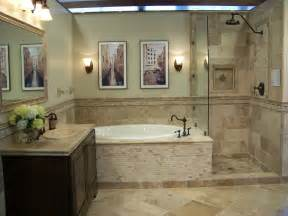 bathroom tiles ceramic tile: mixture of travertine tiles gives this bathroom an earthy natural