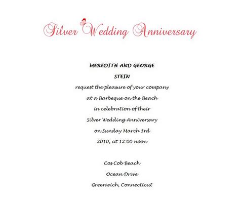25th anniversary invitations templates 25th wedding anniversary invitations 3 wording free
