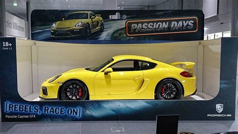 porsche toy car porsche shows off cayman gt4 like a full size toy car