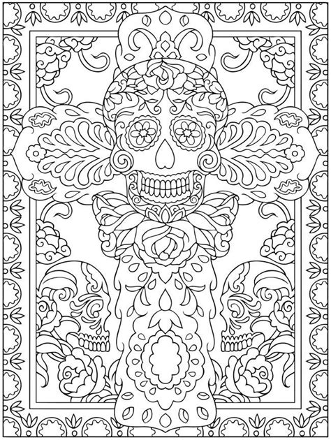 dia de los muertos coloring pages for adults el dia de los muertos skulls coloring pages az coloring