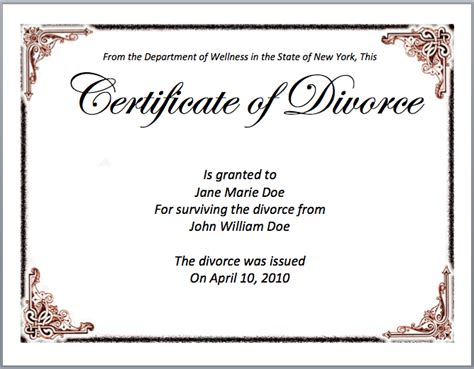 divorce templates image gallery divorce certificate