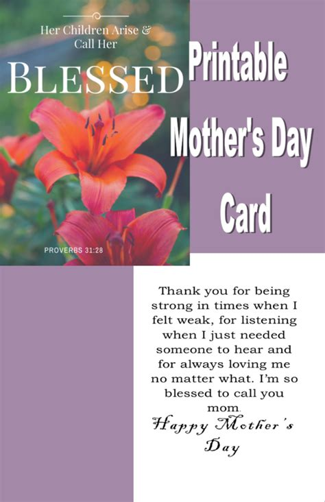 Mothers Day Christian Card Template by 3 Printable Mothers Day Cards From Christian Resource Minstry