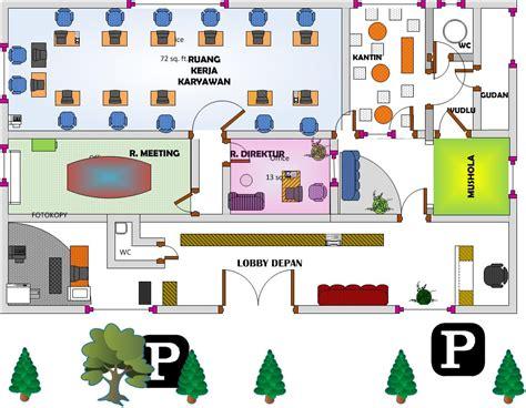 layout ruang kerja kantor tugas praktikum msip visio 2 miracle