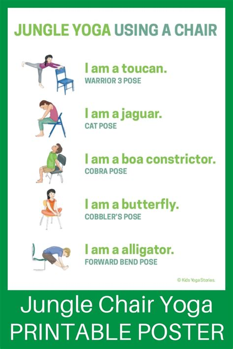 printable yoga poster 5 jungle yoga poses using a chair download the printable